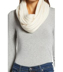 women's halogen solid cashmere infinity scarf, size one size - ivory