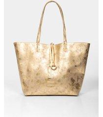 bolso tipo shopping doblefaz para mujer en sintetico con textura tipo cuero