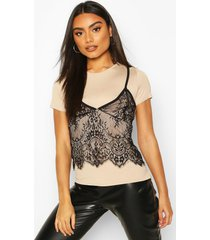 2 in 1 t-shirt & lace cami, stone