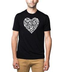 men's premium blend word art paw prints heart t-shirt