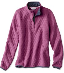 outdoor quilted snap sweatshirt, dahlia, x small