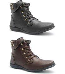 kit 2 botas roed shoes coturno feminina
