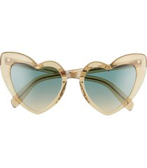 saint laurent loulou 54mm heart sunglasses in yellow/green at nordstrom