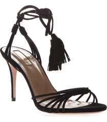 aquazzura black suede ankle tie sandals