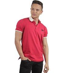 camiseta polo hombre manga corta slim fit rojo marfil simp