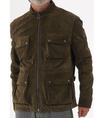 belstaff green smoke new brad leather jacket 71050475-grn