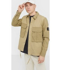 calvin klein jeans mix media twill and ripstop jackor sand
