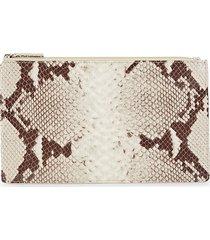 graphic image women's medium snakeskin-print leather flat case - natural