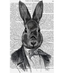 """fab funky rabbit in suit, portrait canvas art - 27"""" x 33.5"""""""