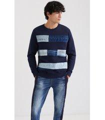 plush sweatshirt denim patches - blue - xxl