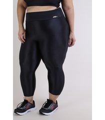 calça corsário feminina plus size esportiva ace cintura alta preta