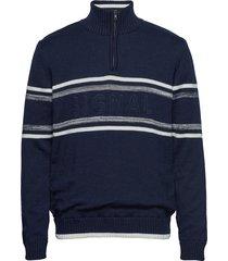 knit knitwear half zip jumpers blå signal