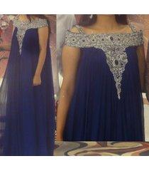 blue silver beaded dress