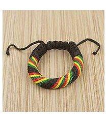 men's wristband bracelet, 'krobo sunshine' (ghana)