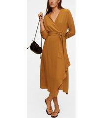 mango wrapped midi dress