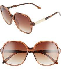 women's bp. 59mm metal detail square sunglasses - brown