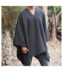 men's alpaca blend poncho, 'inca explorer in gray' (peru)
