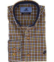 overhemd culture blauw geel geruit regular fit