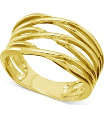 essentials criss-cross open band ring in gold-plate