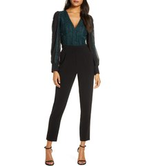 women's adelyn rae cori long sleeve lace jumpsuit, size small - green