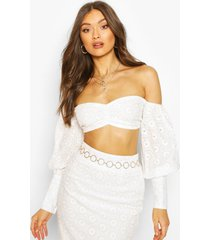 broderie anglaise top met boothals, wit