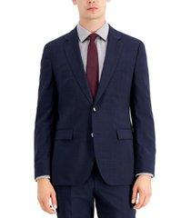 hugo men's classic fit navy/burgundy/plaid suit jacket