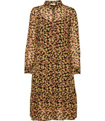 annabelle print dress knälång klänning gul modström