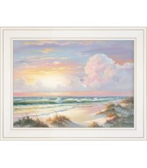 "trendy decor 4u golden sunset on crystal cove by georgia janisse, ready to hang framed print, white frame, 19"" x 15"""