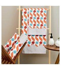 toalha de banho lepper prisma geométrico 3 peças laranja