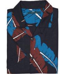 men's leaf print camp short sleeve button-down shirt