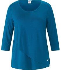 shirt met 3/4-mouwen en dubbele voorkant van anna aura turquoise