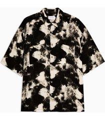 mens black and white tie dye slim shirt