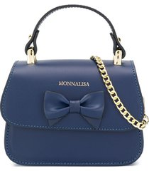 monnalisa bow detail logo tote bag - blue