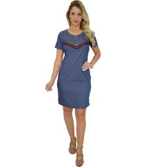 vestido mamorena fita e zíper decote azul