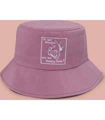 embroidery hand in hand letter bucket hat