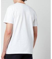 maison kitsuné men's fox head patch classic t-shirt - white - l