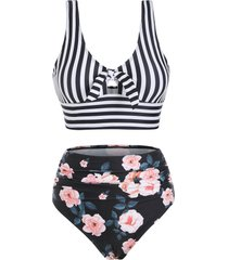 knot striped floral ruched tankini swimwear