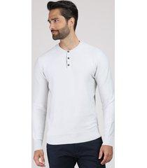 suéter masculino em tricô gola portuguesa off white