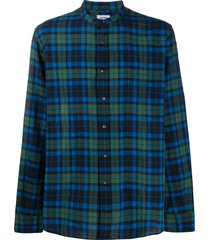 aspesi checked relaxed fit shirt - blue