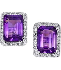 amethyst (1-1/2 ct. t.w.) & diamond (1/6 ct. t.w.) stud earrings in 14k white gold