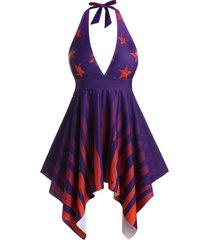 plus size handkerchief star striped halter tie tankini swimwear
