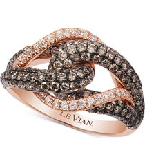 le vian chocolatier gladiator knot white and chocolate diamond ring (1-1/2 ct. t.w.) in 14k rose gold