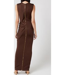 balmain women's long sleeveless asymmetric draped dress - dark brown - fr 40/uk 12