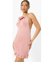 gebreide mini jurk met geplooide hals en open rug, dusky pink
