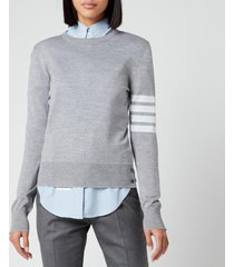 thom browne women's relaxed fit crew neck pullover - light grey - it 42/uk 10