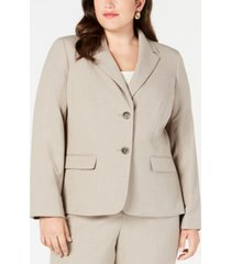 nine west plus size crepe two-button jacket