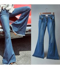 women's tight flare trousers elastic jeans bell bottom pants