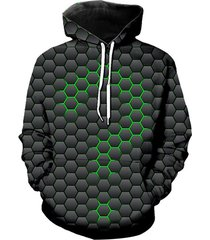geometric question mark graphic front pocket casual hoodie