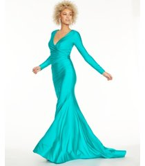 glamour by terani juniors' stretch satin open-back gown