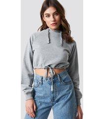 na-kd drawstring hoodie - grey